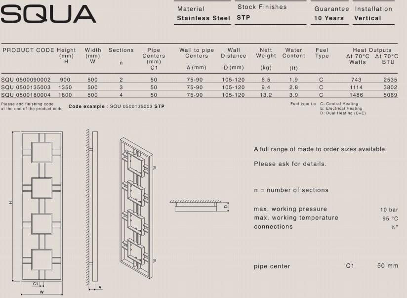 Carisa Squa Stainless Steel Vertical Radiator