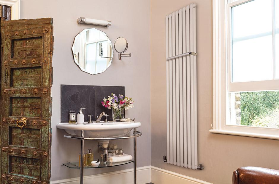 Bisque Tetro Aluminium Wall Hung Towel Radiator
