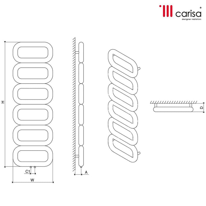 Carisa Talent Stainless Steel Vertical Towel Rail