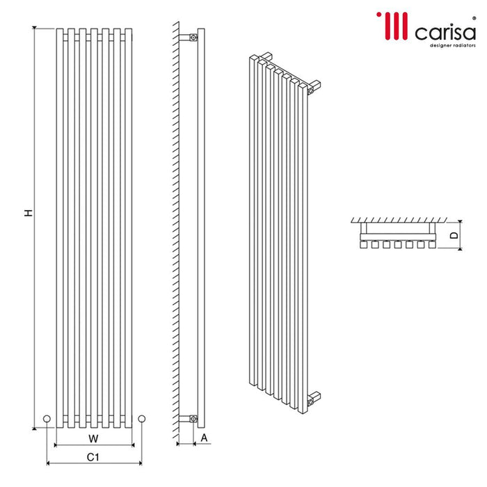 Carisa Zara Steel Vertical Designer Radiator - Chrome