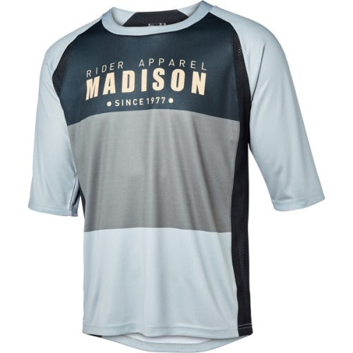 Madison Alpine Mens 3/4 Sleeve Black/Cloud Grey Jersey