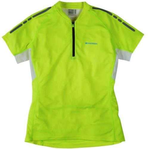Madison Stellar Womens Short Sleeve Hi-Viz Yellow Jersey Front