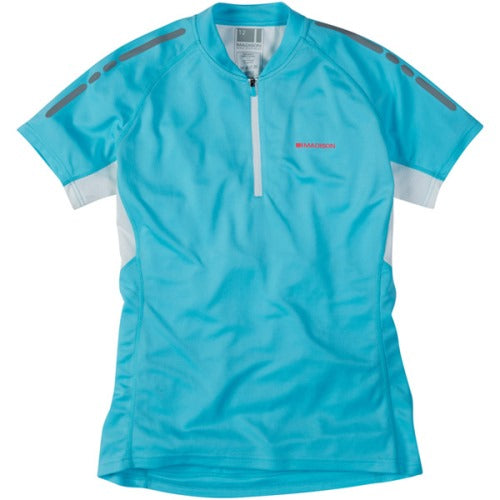 Madison Stellar Womens Short Sleeve Blue Fish Jersey Front