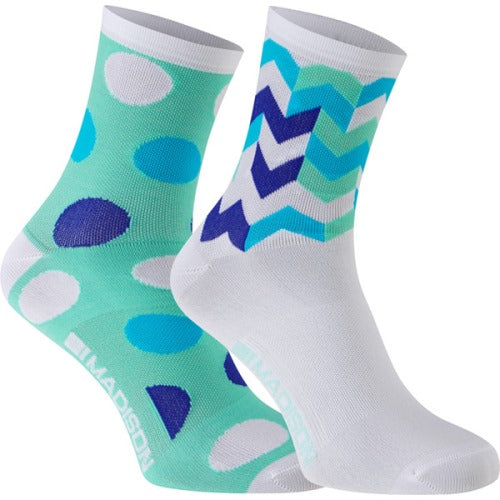 Madison Sportive Womens Mid Sock Blue Combo Twin Pack