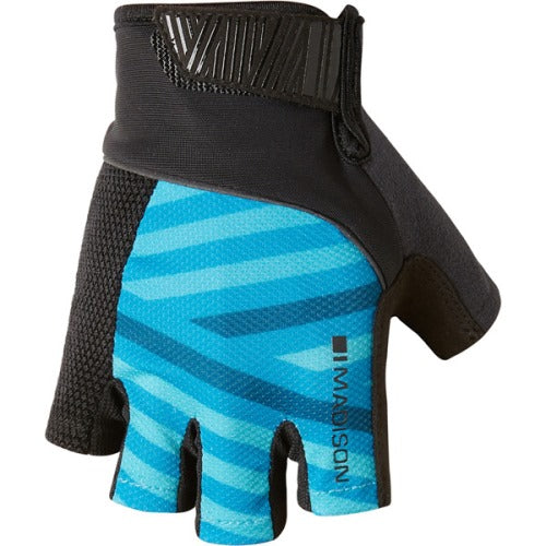 Madison Sportive Mens Geo Carribean Blue/Black Mitts Front