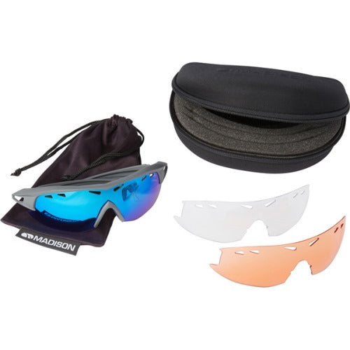 Madison Recon 3 Lens Kit Matt Dark Grey Frame - Blue Mirror/Amber/Clear Lens