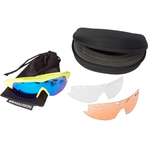 Madison Recon 3 Lens Kit Gloss Hi-Viz Yellow Frame - Blue Mirror/Amber/Clear Lens