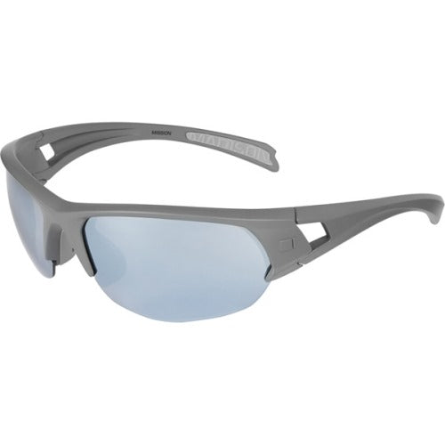 Madison Mission Glasses Matt Dark Grey Frame - Silver Mirror Lens