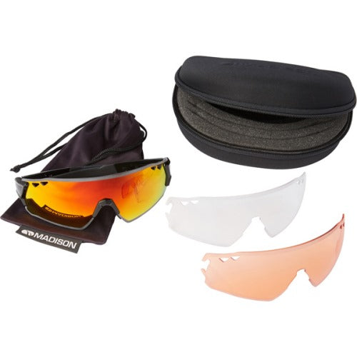 Madison Stealth 3 Lens Kit Gloss Black Frame - Fire Mirror/Amber/Clear Lens