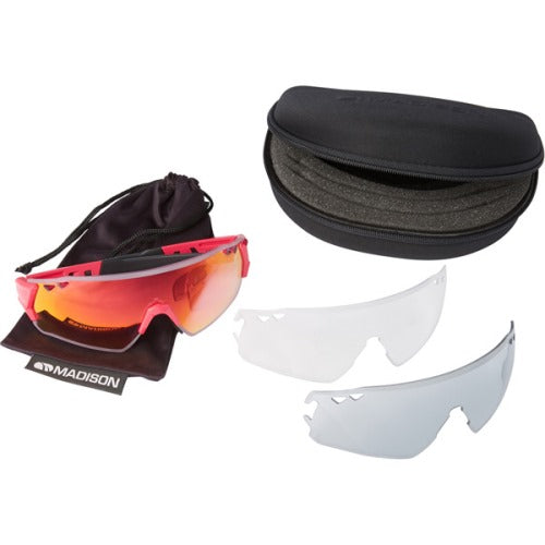 Madison Stealth 3 Lens Kit Gloss Rose Red Frame - Pink Mirror/Smoke/Clear Lens