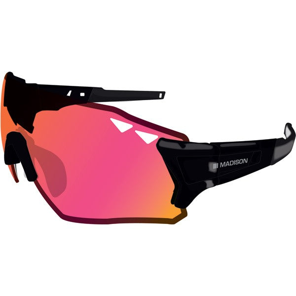 Madison Stealth glasses 3 Pack - Gloss Black Frame, Pink Orange/Mirror/Smoke/Clear Lens