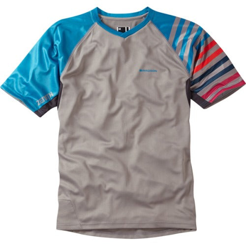 Madison Zenith Mens Short Sleeve Grey/Blue Jersey Front