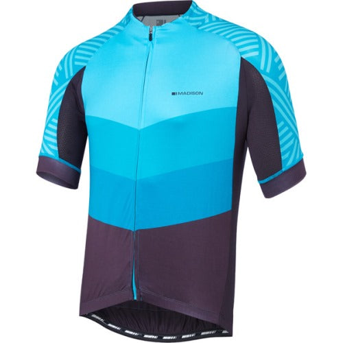 Madison Sportive Mens Short Sleeve Chevron Blue/Phantom Jersey Front