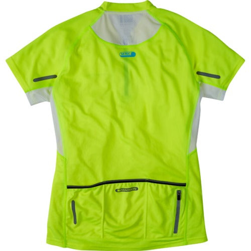 Madison Stellar Womens Short Sleeve Hi-Viz Yellow Jersey Rear