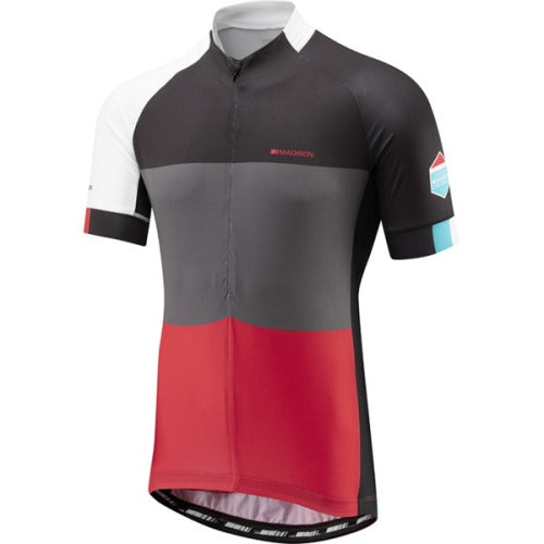Madison Sportive Mens Half Zip Short Sleeve Red Blocks Jersey Front