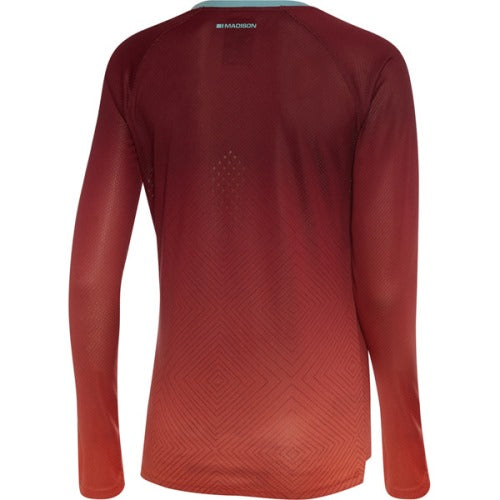 Madison Flux Womens Long Sleeve Jersey Diamonds Classy Burgundy / Intense Coral  Rear