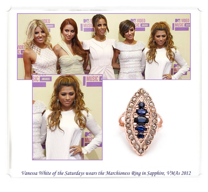 Vanessa White of the Saturdays wearing Arik Kastan's Marchioness Ring