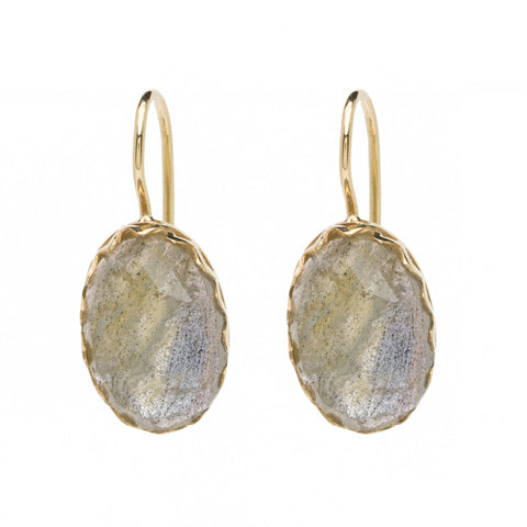 Oval Sawtooth Drops - Rose Cut Labradorite - YG