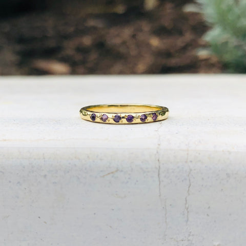 Micro Stacking Ring - Amethyst - YG
