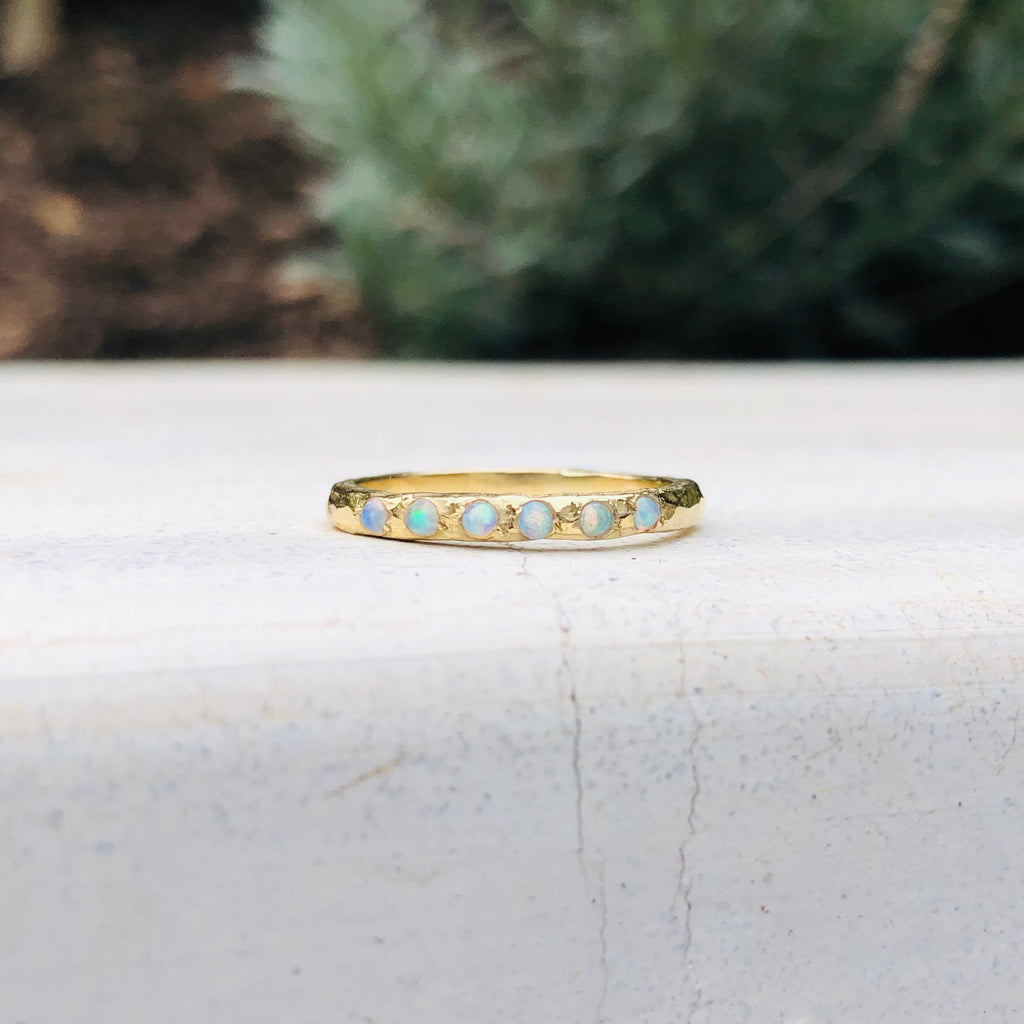 Micro Stacking Ring - Opal - YG