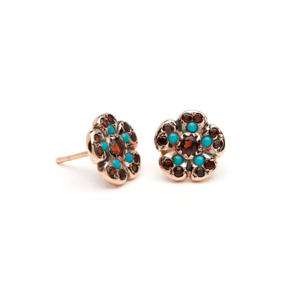 Hibiscus Studs - Alternating Garnet with Turquoise
