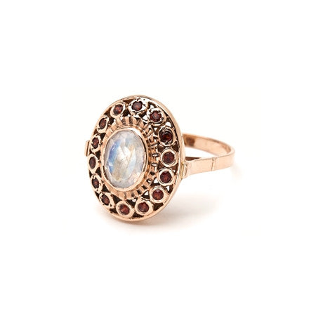 Pebble Stone Ring - Moonstone Oval with Garnet Bezel