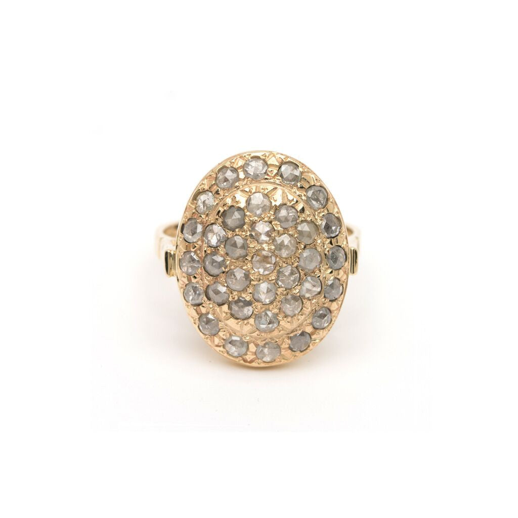 Pavé Oval Ring - Rose-Cut Diamond YG
