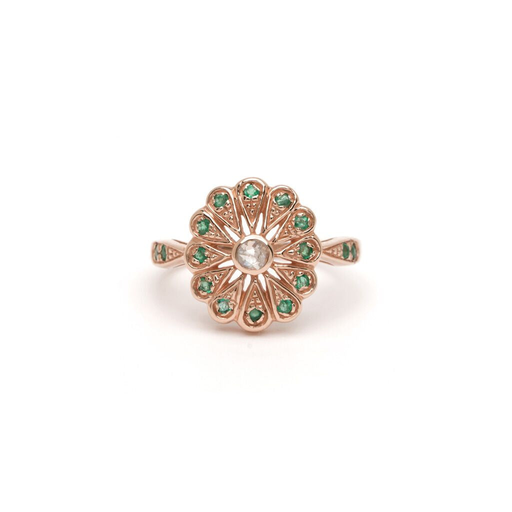 Sunflower Ring - Diamond with Emerald