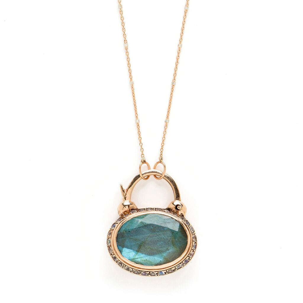 Grace Padlock - Labradorite with Moonstone