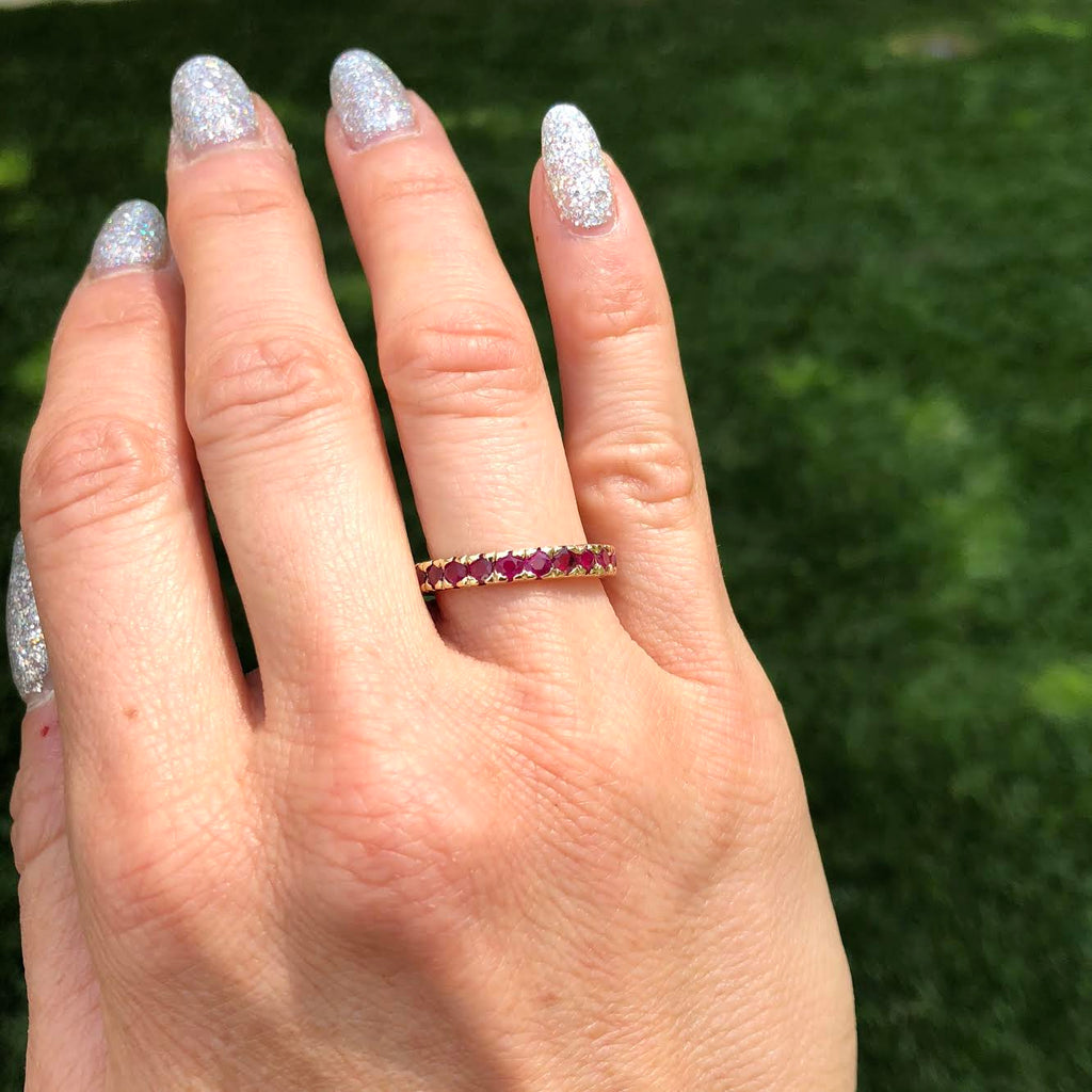 Thin Stacking Ring - Ruby YG