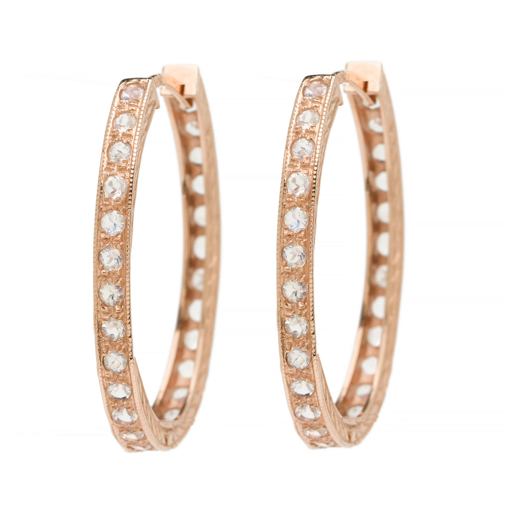 Large Oval Hoops - Moonstone