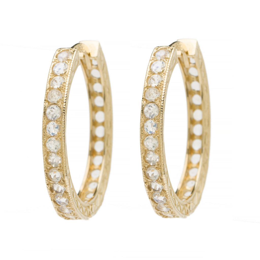 Medium Oval Hoops - Moonstone YG