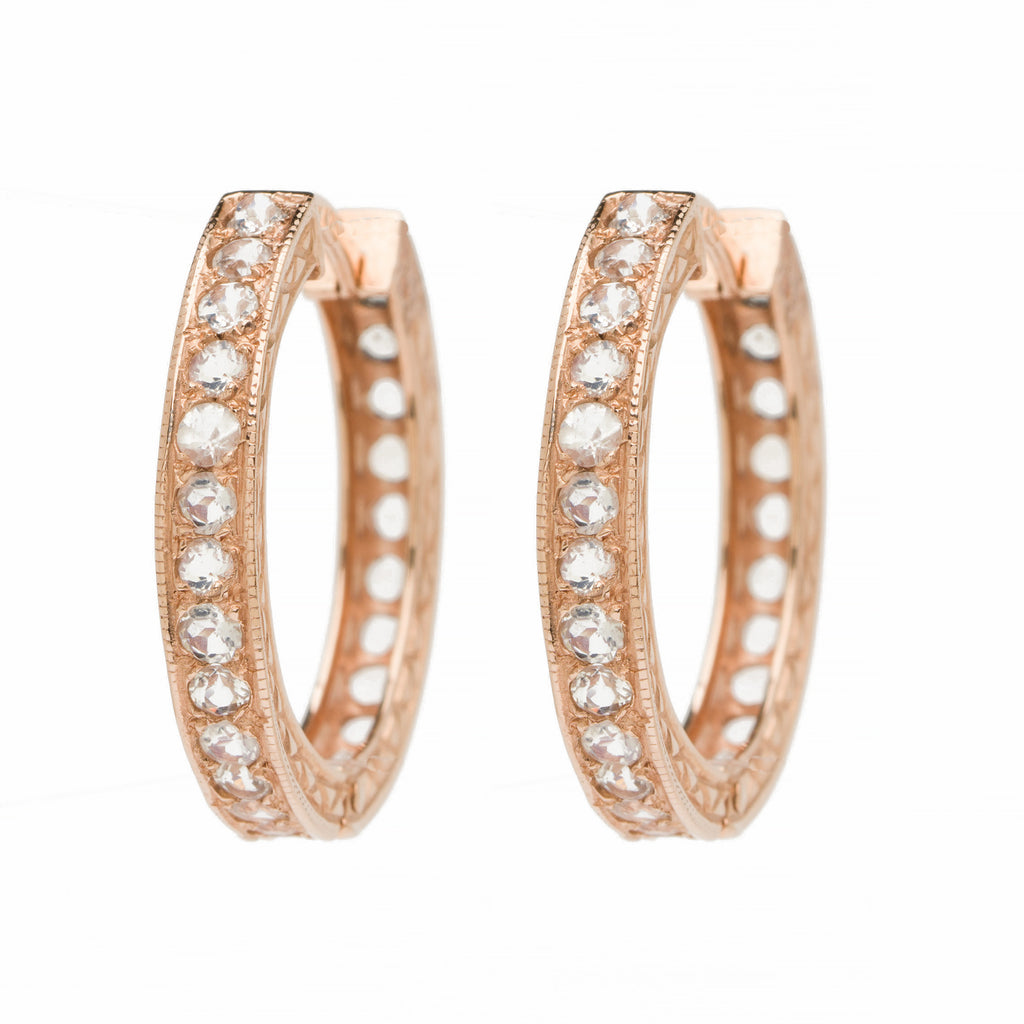 Medium Round Hoops - Moonstone