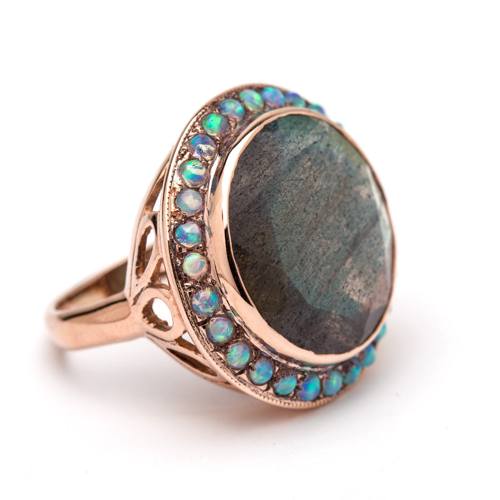 Round Cocktail Ring - Labradorite and Opals