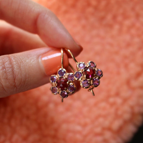 Blossom Drops - Rose-Cut Garnet with Amethyst