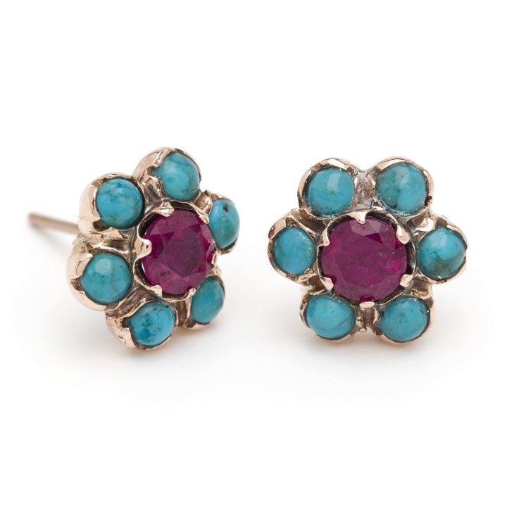 Blossom Stud Earrings - Ruby and Turquoise