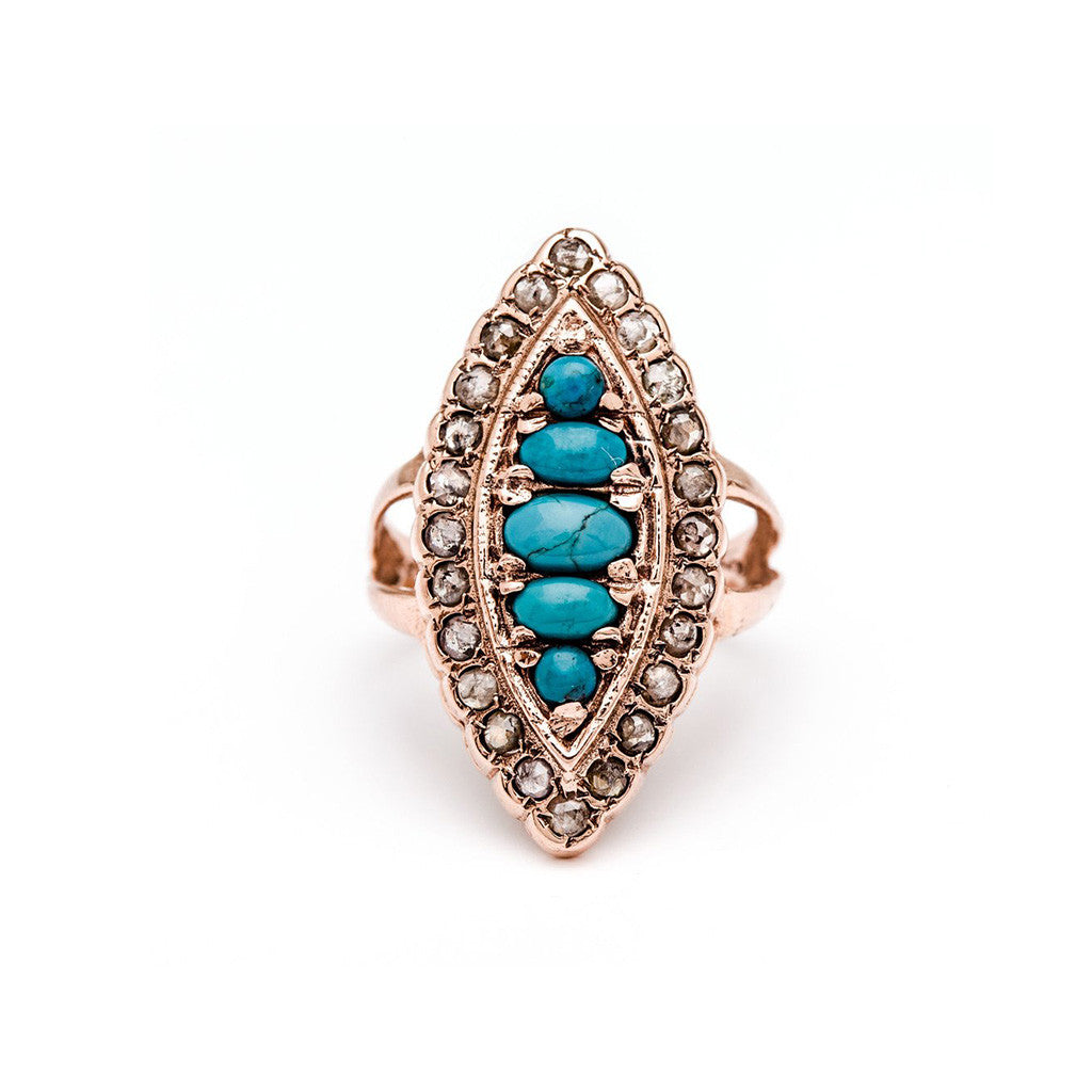 Marchioness Shield Ring - Turquoise with Diamond