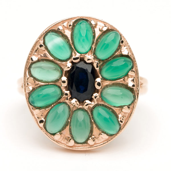 Oval Mandala Ring - Sapphire and Green Agate