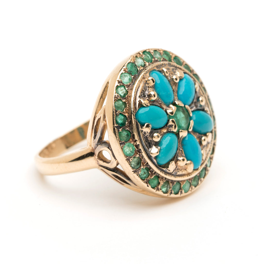 Framed Mandala Ring - Alternating Emerald with Turquoise YG