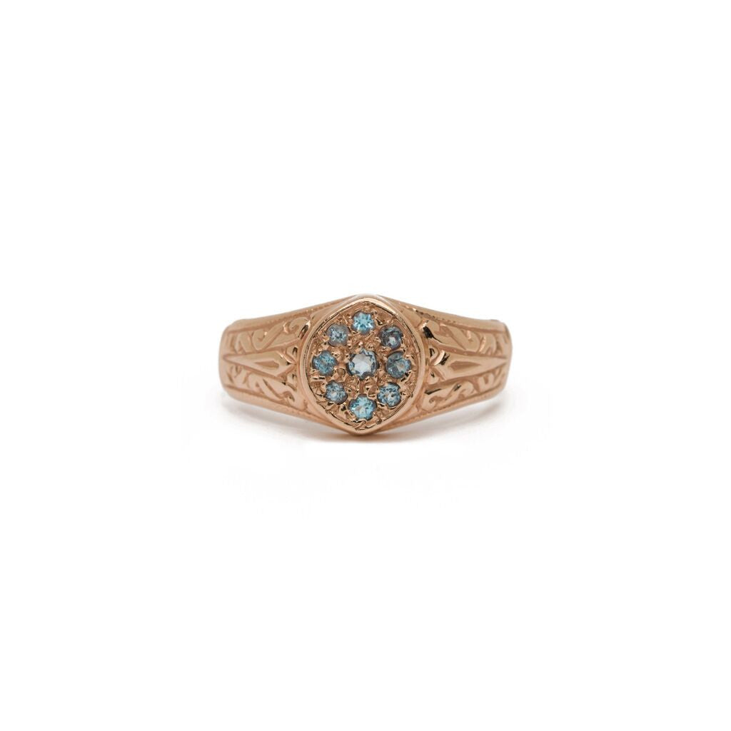 Ivy Signet Ring - Aquamarine