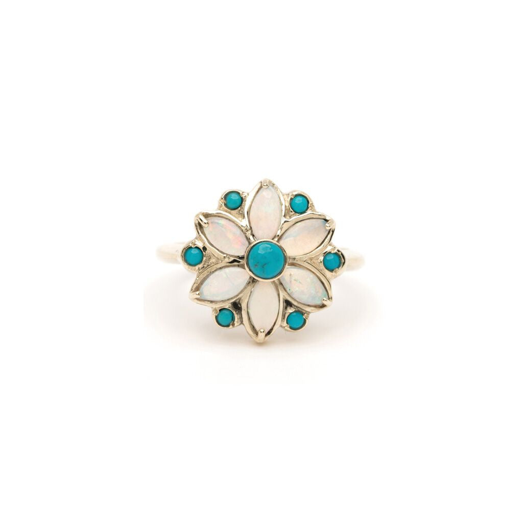 Flower Mandala Ring - Alternating Turquoise with Opal YG