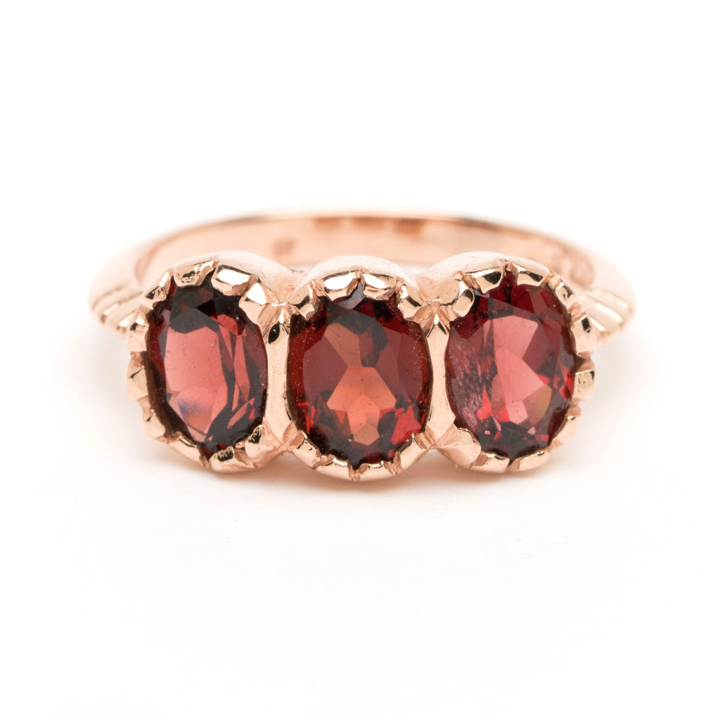 Petite Signature Three-Stone Ring - Garnet