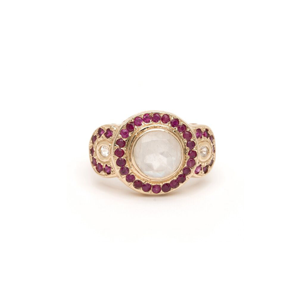 Grande Arches Ring - Moonstone with Ruby YG