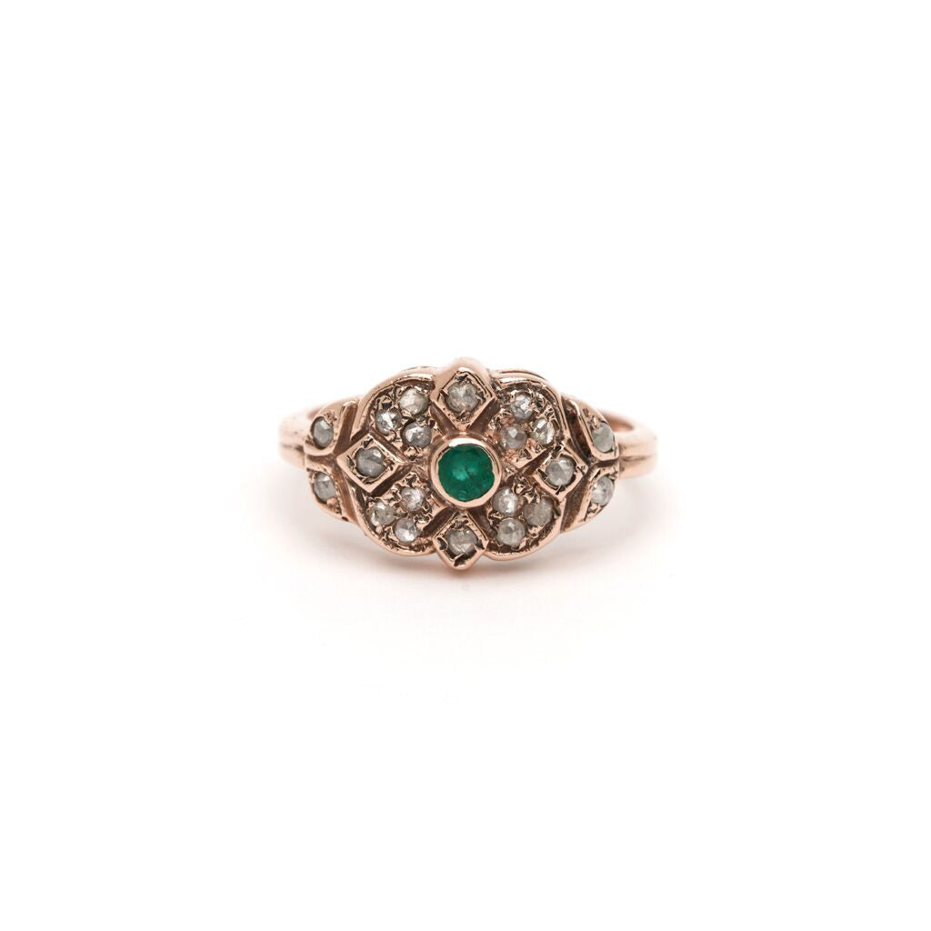 Shiraz Ring - Emerald with Diamond