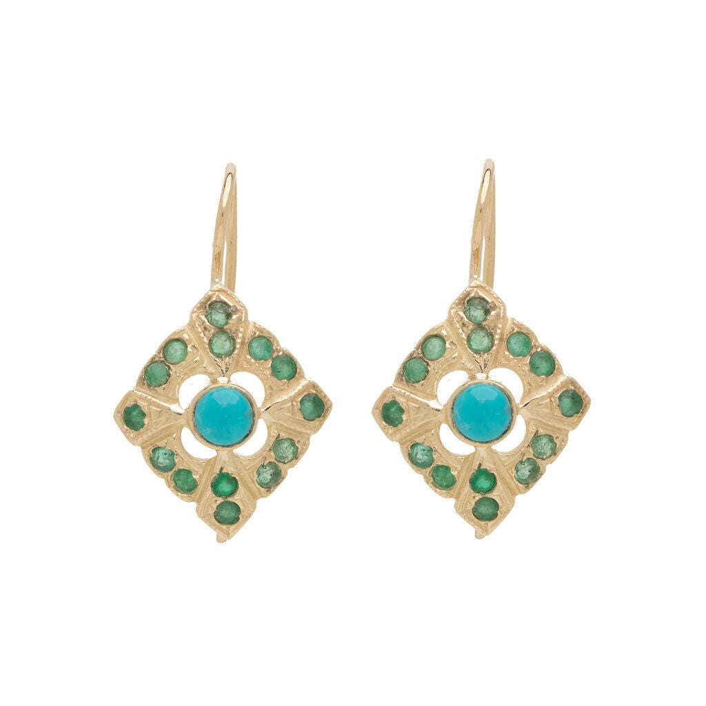Deco Rhombus Drops - Turquoise with Emerald YG