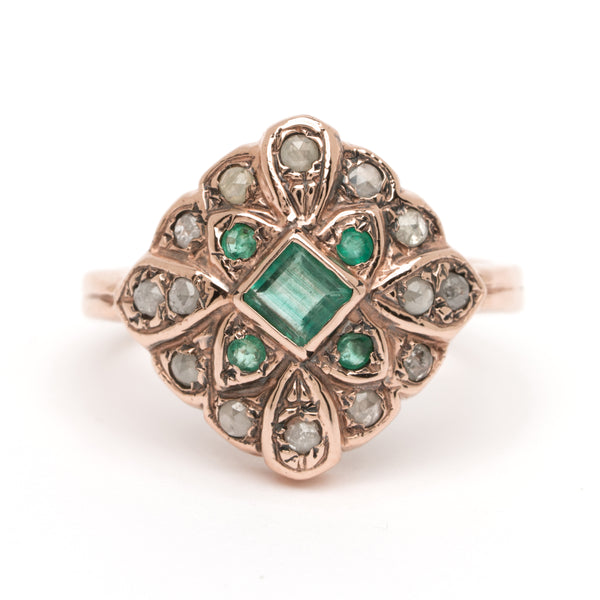 Delilah Ring - Emerald with Diamond