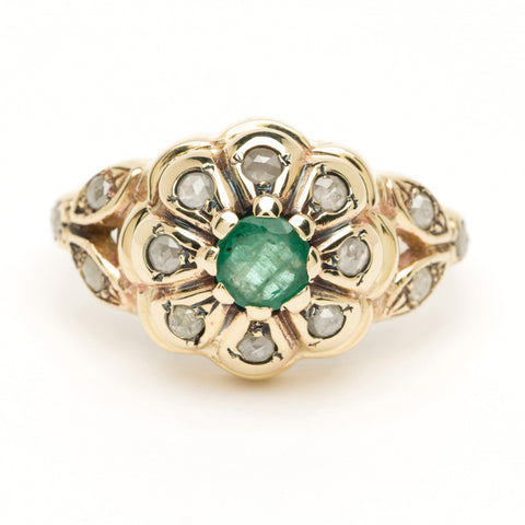 Poppy Ring - Emerald Center and Rose Cut Diamonds - YG