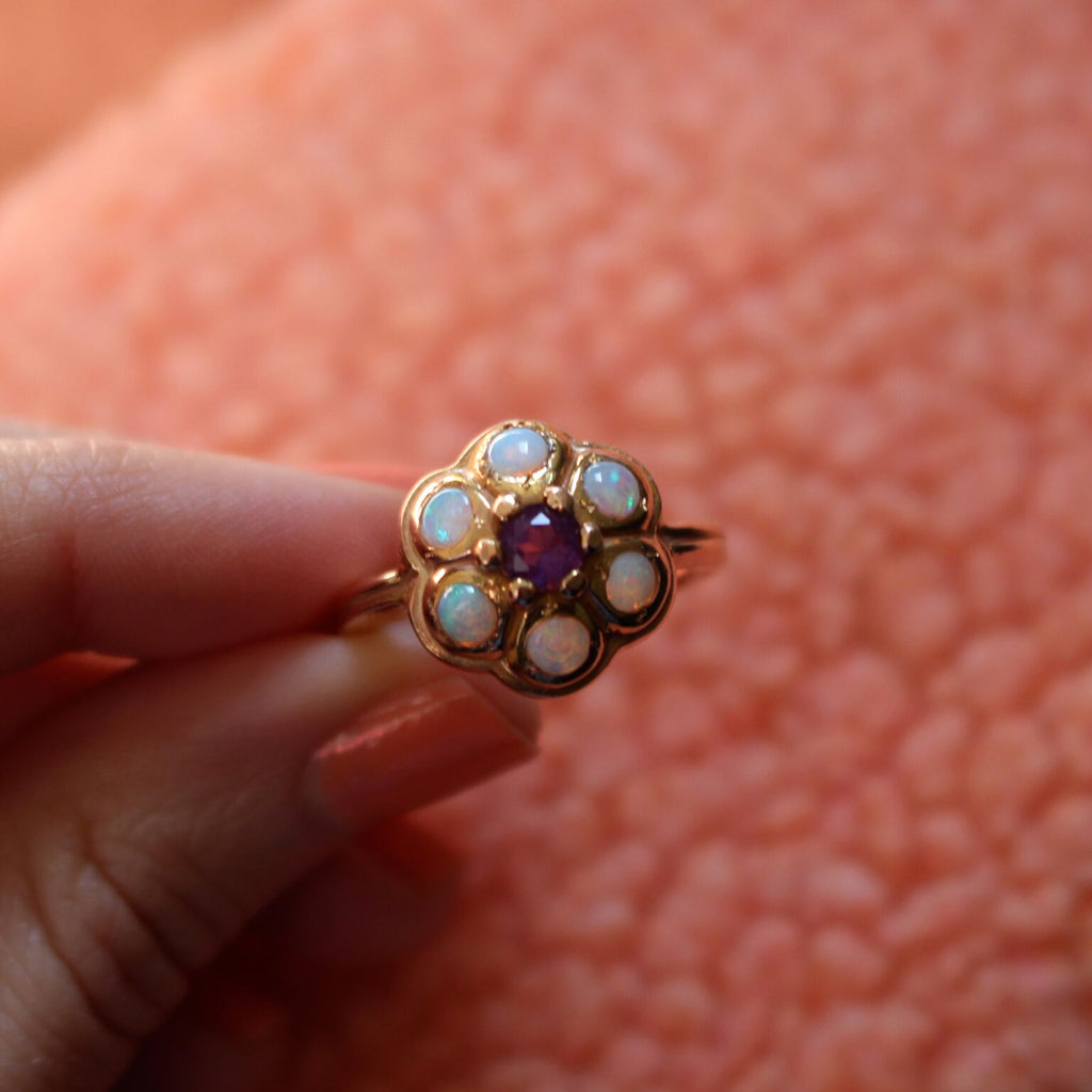 Flora Ring - Amethyst with Opal