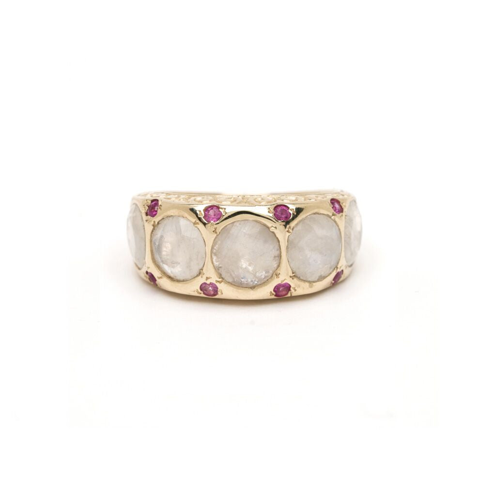 Five-Stone Art Deco Ring - Moonstone with Ruby YG