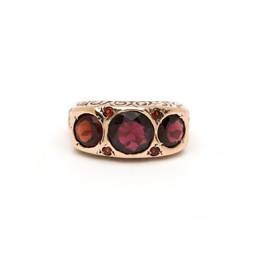 Three-Stone Art Deco Ring - Garnet